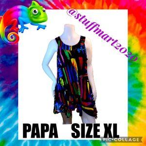 PAPA NWOT SWING MINI DRESS BRIGHT PRINT XL